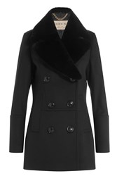 Burberry London Wool Jacket With Rabbit Fur Collar Black