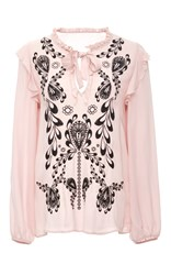 Cynthia Rowley Embroidered Georgette Tie Blouse Light Pink