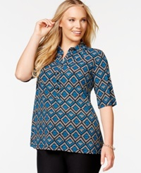 Alfani Plus Size Elbow Length Sleeve Printed Polo Shirt Only At Macy's Blue Multi