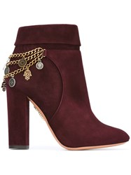 Aquazzura Chain Detail Booties Pink Purple