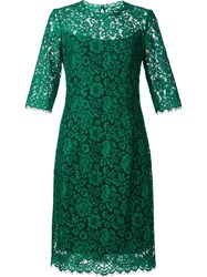 Carolina Herrera Floral Lace Dress Green