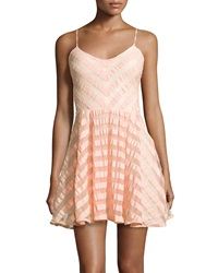 Greylin Fit And Flare Stripe Dress Peach