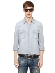 Cycle Cotton Canvas Western Shirt Light Grey