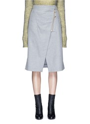 Acne Studios 'Panna' Wrap Front Flannel Pencil Skirt Grey