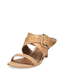 Donald J Pliner Mora Buckle Kitten Heel Slide Sandal Natural