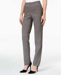 Charter Club Tummy Control Windowpane Ponte Pants Only At Macy's Charcoal Heather