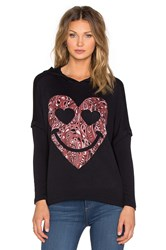 Lauren Moshi Lotta Red Bandana Heart Hoodie Black