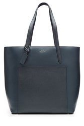 Smythson Leather North South Tote Blue