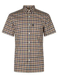 Aquascutum London Emsworth Club Check Short Sleeve Shirt Vicuna