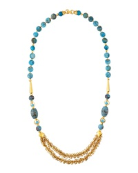 Jose And Maria Barrera Blue Fire Agate Long Necklace