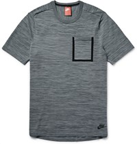 Nike Melange Tech Knit Cotton Blend T Shirt Gray