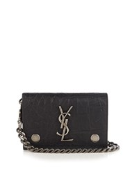 Saint Laurent Monogram Crocodile Effect Leather Wallet Black