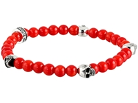 King Baby Studio 6Mm Red Coral Bead Bracelet W 4 Skulls