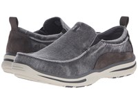 Skechers Relaxed Fit Elected Drigo Charcoal Canvas Men's Slip On Shoes Gray