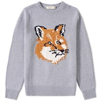 Maison Kitsune Fox Head Crew Knit Grey