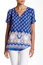 Daniel Rainn Pinch Short Sleeve Split Neck Blouse Blue