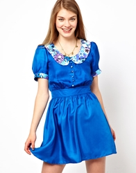 Lowie Silk Skater Dress With 70S Floral Collar Cobaltblue