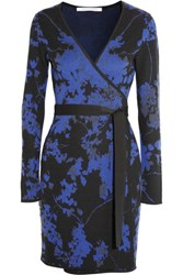 Diane Von Furstenberg Jacquard Knit Wool Wrap Mini Dress Royal Blue