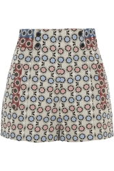 Anna Sui High Rise Daisy Brocade Shorts Blue
