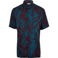 River Island Mens Purple Palm Tree Print Short Sleeve Shirt