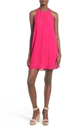 Astr Women's High Neck Trapeze Dress Fuchsia