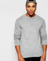 New Look Textured Crew Neck Jumper Grey