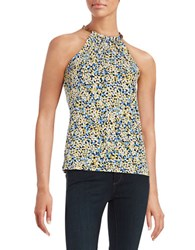 Michael Michael Kors Flowers And Leather Halter Top Sunflower