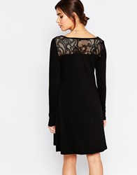 B.Young Long Sleeve Dress With Crochet Back Detail Black