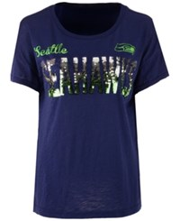 G3 Sports Women's Seattle Seahawks In The Game Sequin T Shirt Navy