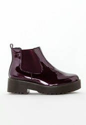 Missguided Rubber Sole Chelsea Boots Burgundy Patent Burgundy