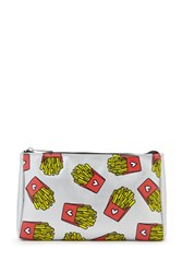 Forever 21 French Fry Print Makeup Bag Silver Multi