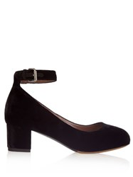 Tabitha Simmons Martha Velvet Block Heeled Pump Black