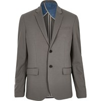 River Island Mens Mink Brown Jersey Slim Blazer