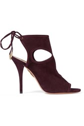 Aquazzura Sexy Thing Cutout Suede Sandals Burgundy