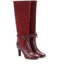 Chloe Suede And Leather Knee High Boots Red