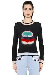 Fendi Fox Fur Embellished Tulle And Knit Sweater