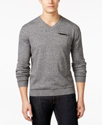 Ryan Seacrest Distinction V Neck Pocket Sweater Only At Macy's Black Marl