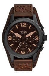 Men's Fossil 'Nate' Chronograph Leather Strap Watch 46Mm Dark Brown Black