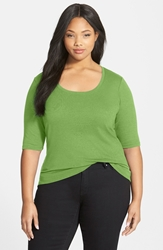 Sejour Elbow Sleeve Scoop Neck Tee Plus Size Green Papyrus