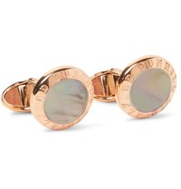 Dunhill Palladium Plated Mother Of Pearl Cufflinks Rose Gold
