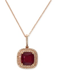 Effy Collection Rosa By Effy Ruby 3 1 8 Ct. T.W. And Diamond 1 4 Ct. T.W. Drop Pendant In 14K Rose Gold