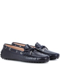 Tod's Heaven New Lacetto Embossed Leather Loafers Blue
