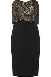 Badgley Mischka Guipure Lace And Stretch Jersey Dress Black