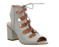Office Waffle Block Heel Ghillie Courts Grey