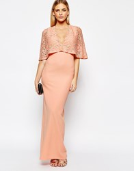 Club L Kimono Sleeve Maxi Dress With Lace Overlay Pink