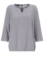 Gerry Weber Spot Print Blouse Mother Of Pearl Marine