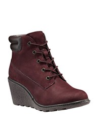 Timberland Amston Leather Wedge Heel Boots Red