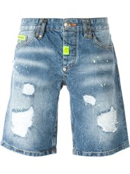 Philipp Plein 'Dotted' Denim Shorts Blue