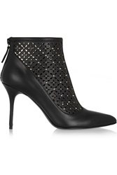 Alexander Mcqueen Perforated Studded Leather Ankle Boots Black