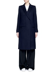 Ports 1961 Oversized Pocket Felted Virgin Wool Cashmere Coat Blue